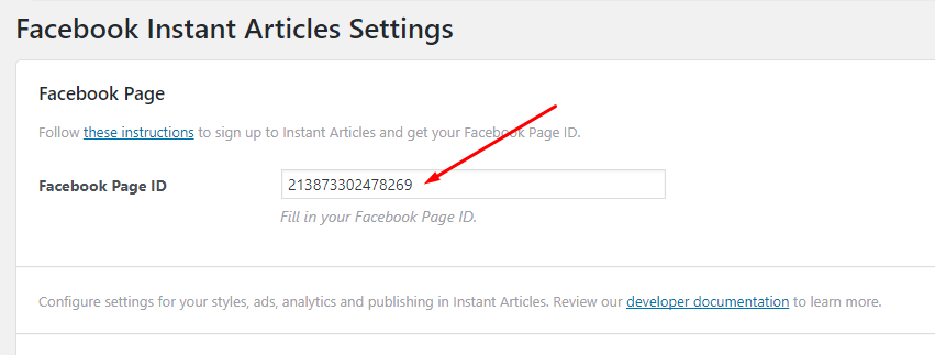 Facebook Instant Articles Settings-PAGE_ID